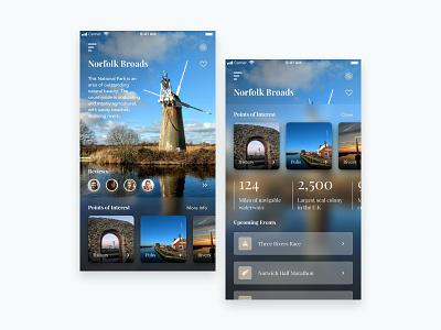 Norfolk Tourism App imagery background blur photography norfolk tourist tourism booking app mobile iphone app sketch ux ui  ux ui design clean