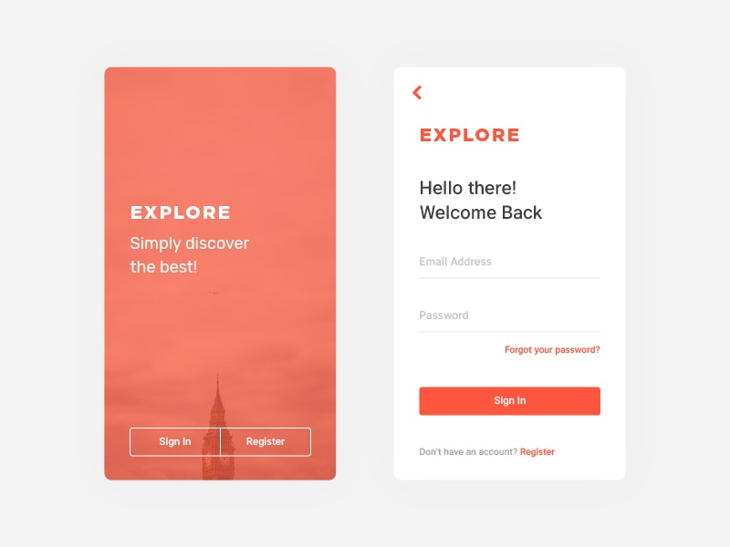 Explore Sign In/Register signup android ios sketch user experience user interface ux ui