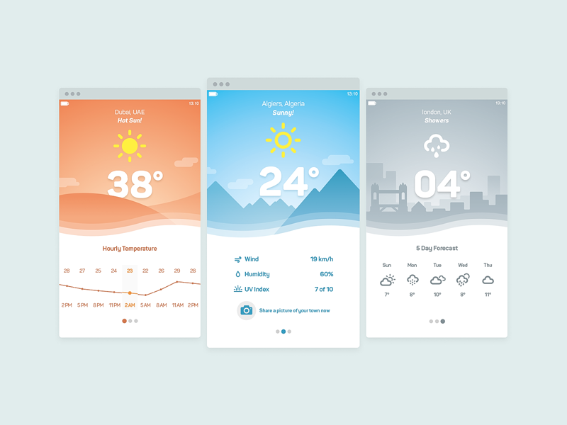Weather UI material design forecast rain cloud sun smartphone application vector trend ui weather