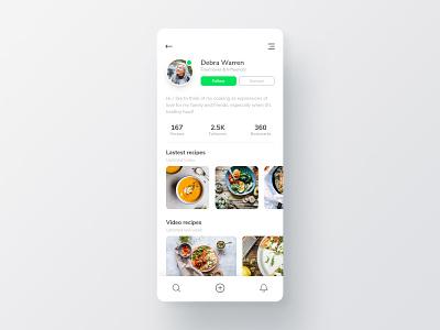 Food App User Profile interface minimalist light ui design food app blog food user profile daily ui ux ui user interface
