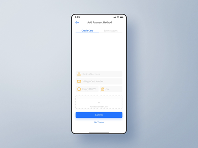 Add Credit Card - Interaction payment design ui ux interface app ui  ux credit card mobile animation