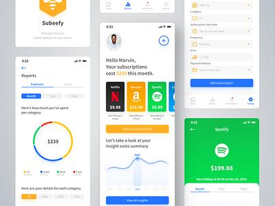 Subeefy - Subscription Management App tracking app track payment netflix subscription design interface ux ui design design sprint app ui