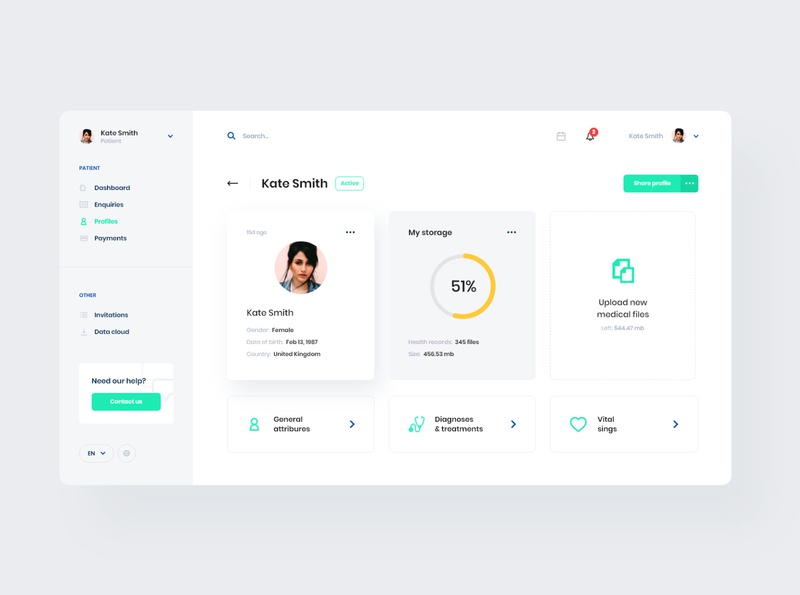 #2 MedicalApp modern minimalism design minimalistic white clean dashboard webapp app application medical patient profile medicine doctor ux ui