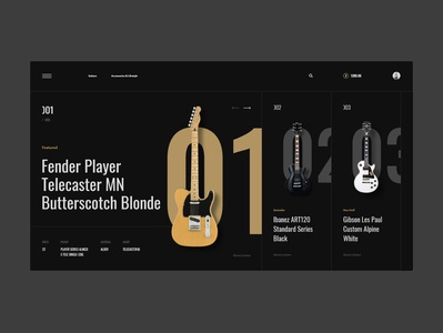 #80 Shots for Practice instrument luxury web website ui ux typography gold shop ecommerce store music guitar dark black clean minimalism flat homepage design
