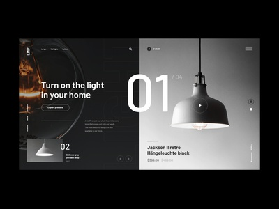 #83 Shots for Practice shop ecommerce store product branding light concept dark lamp black minimalism flat homepage design website ux ui