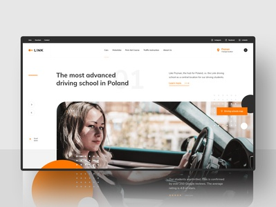 #1 - Link. Driving school. webdesign web project car school driving slider graphic clean flat minimalism homepage design website ux ui