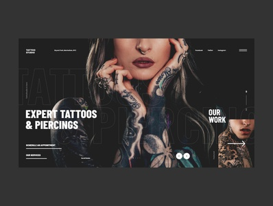 #84 - 2 Shots for Practice concept webdesign tattoos dark slider minimalism website ui ux design homepage tattoo studio black web graphic image photography