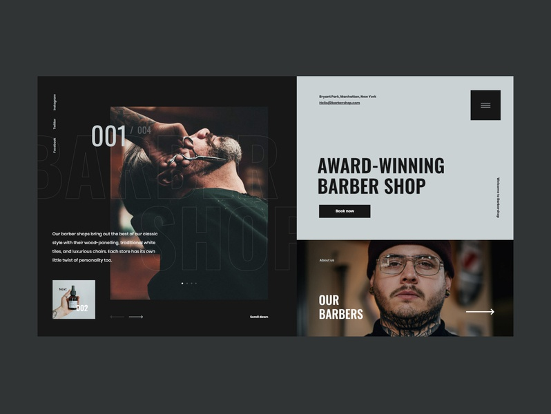 #85 Shots for Practice concept typography graphic flat beard hairdresser barbershop barber minimalism homepage design website ux ui