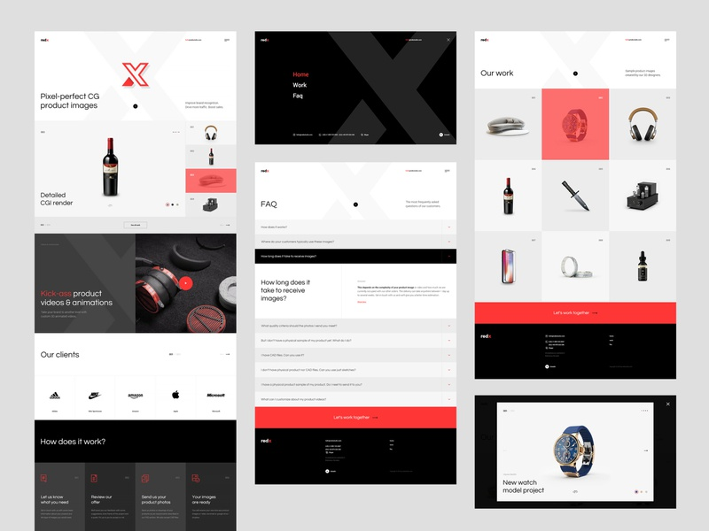 #2 RedXStudio - Website Project graphic flat greyscale minimalism webdesign typogaphy agency web website branding visualization studio product list homepage 3d ux ui