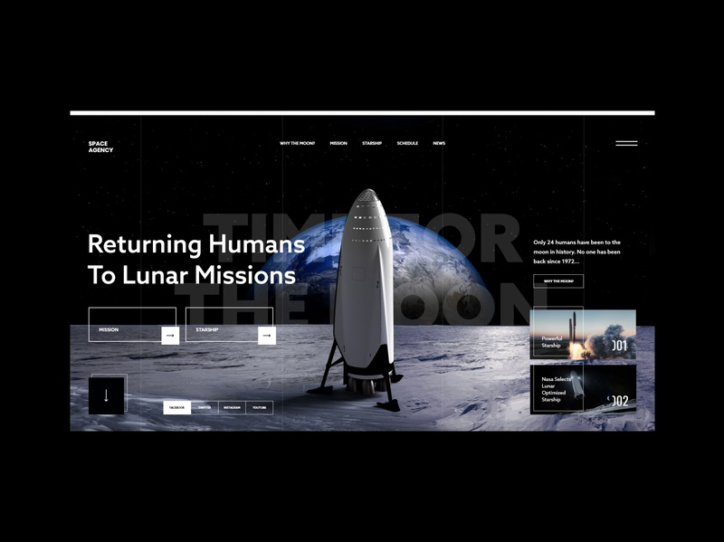 #87 Shots for Practice web design planet earth spaceship rocket web concept dark graphic minimalism flat homepage design moon space website ux ui