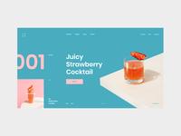 #87 Shots for Practice webdesign web hot summer cocktail bar drink blue concept slider graphic clean minimalism homepage design website ux ui
