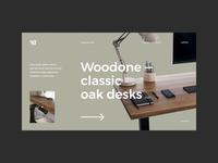#1 - Woodone. Landing page webdesign store ecommerce web workspace wooden classic elegant modern furniture desk wood clean minimalism flat homepage design website ux ui