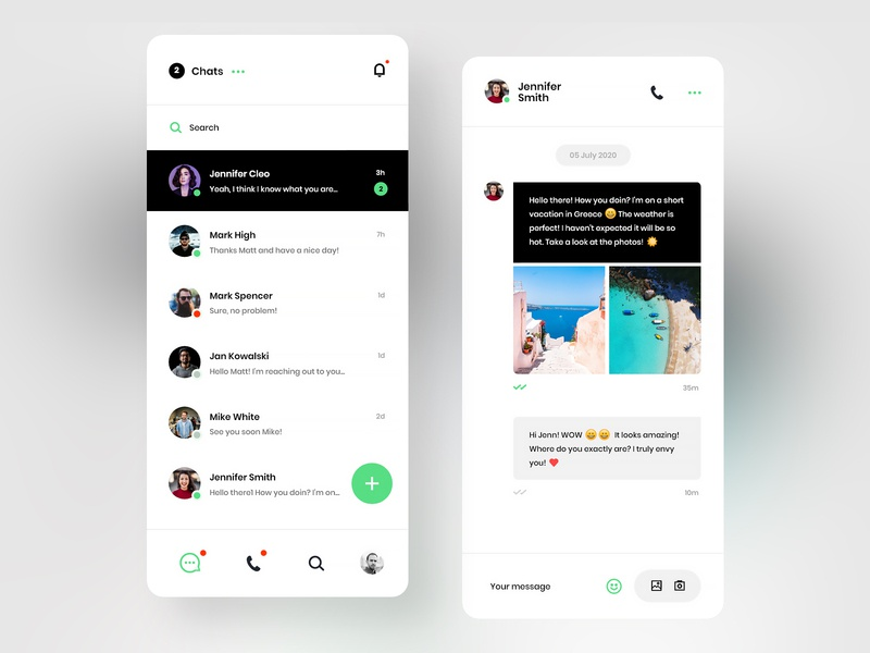#21 Messenger - MobileApp Concept chatting app design graphic clean flat minimalism android iphone mobile app design ux ui typing text consultation talk messenger message chat