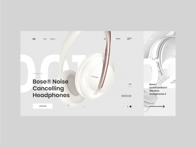 #91 Shots for Practice grey headset shop web design ecommerce bose store slider graphic clean flat minimalism homepage design website ux ui headphones