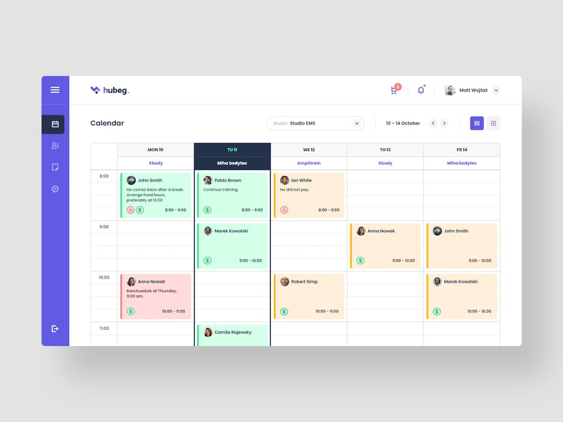 #1 hubeg - Dedicated system for EMS studios graphic minimalism flat web app modern clean user inteface calendar design webapp studio ems managment system application app ux ui