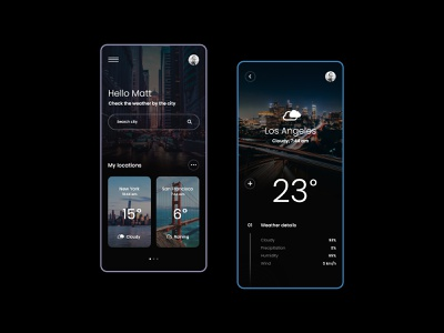 #22 Weather Forecast App - MobileApp Concept black dark application ios iphone android phone design weather forecast city modern minimalism interface mobile app weather ux ui