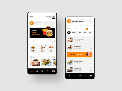 #24 Food Delivery - MobileApp Concept interface mobile app list eat concept android ios iphone graphic app flat design restaurant order delivery food mobile application ux ui