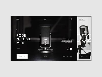 #97 Shots for Practice mic typography home designer web webdesign store slider black microphone concept graphic minimalism homepage website design ux ui