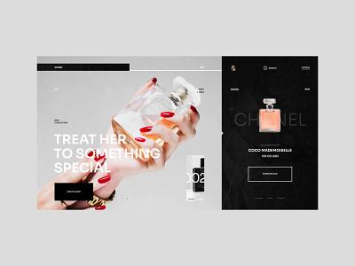 #98 Shots for Practice perfum web ecommerce clean minimalism flat typography webdesign home website design shop store women fragrance ux ui