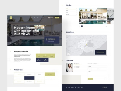 Property template - LP landing page webdesign onepage home house mansion real estate property typography branding modern minimalism flat homepage website design ux ui