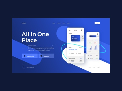 #102 Shots for Practice webpage designer concept blue typography web webdesign mobile account fintech bank illustration minimalism flat homepage website design ux ui
