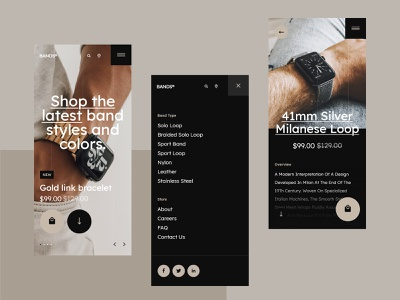 #109.1 - Mobile - Concept shots webdesign shop luxury branding app website ecommerce store watch apple band smartphone android iphone mobile design ux ui