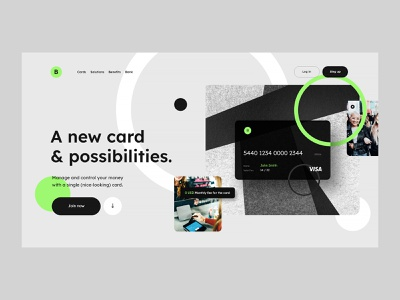 #114 - Concept shots banking green webdesign typography flat concept pay financial finance debit card card credit card bank homepage website design ux ui