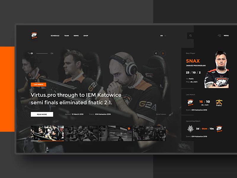 Virtus.pro - Website Concept #1 virtuspro esport ui ux homepage gaming website flat black dark