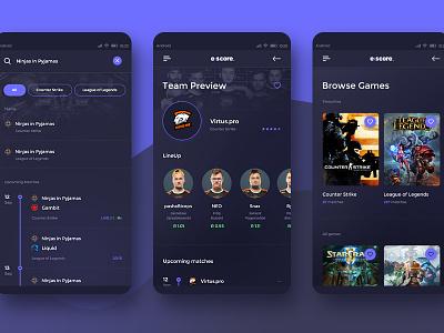 Escore - Esport Score Mobile App #3 android cs leage of legends lol counter strike design ux ui app mobile esport gaming