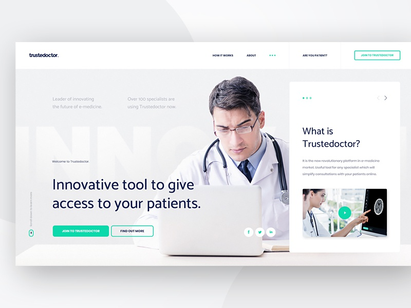 Trustedoctor - New Homepage #1 ux ui welcome screen medicine website flat white gray doctor minimal