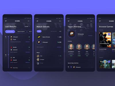 Escore - Esport Score Mobile App #4 android cs leage of legends lol counter strike design ux ui app mobile esport gaming