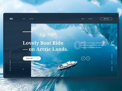 #8 Shots for Practice minimalism clean ui ux blue welcome screen ocean sea boat homepage slider