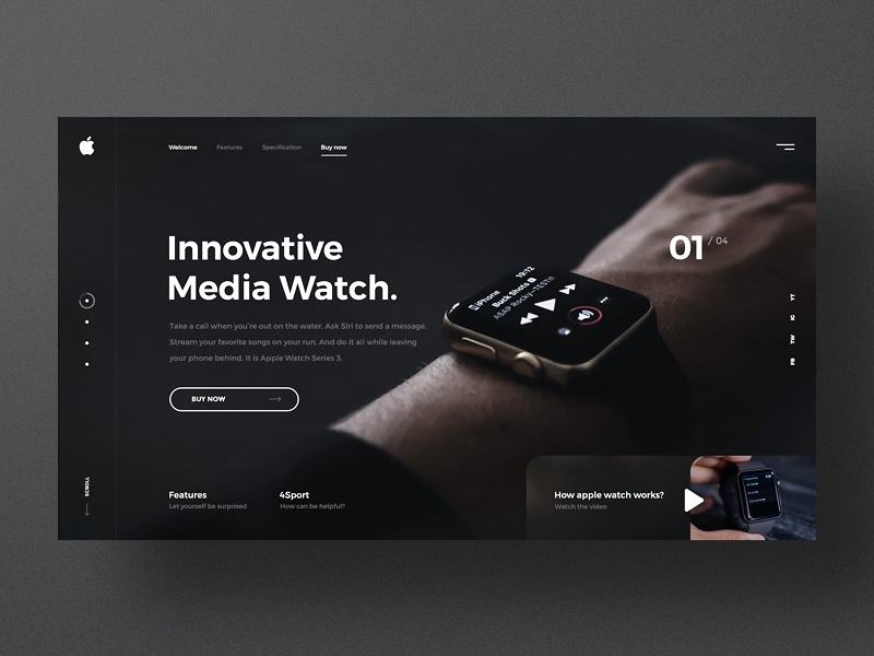 #22 Shots for Practice ux ui homepage watch apple graphic one page design website landing page