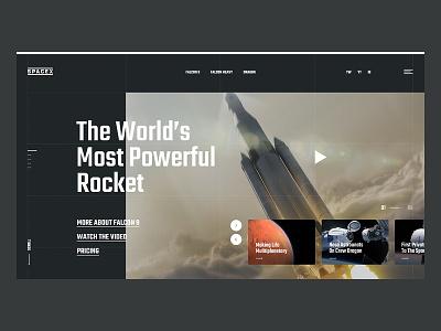 Spacex Website Concept design website concept slider dark mars rocket spacex space