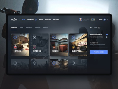 CS:GO - Game Interface Redesign Concept #1 redesign concept counterstrike esport interface app design game csgo cs dark ux ui