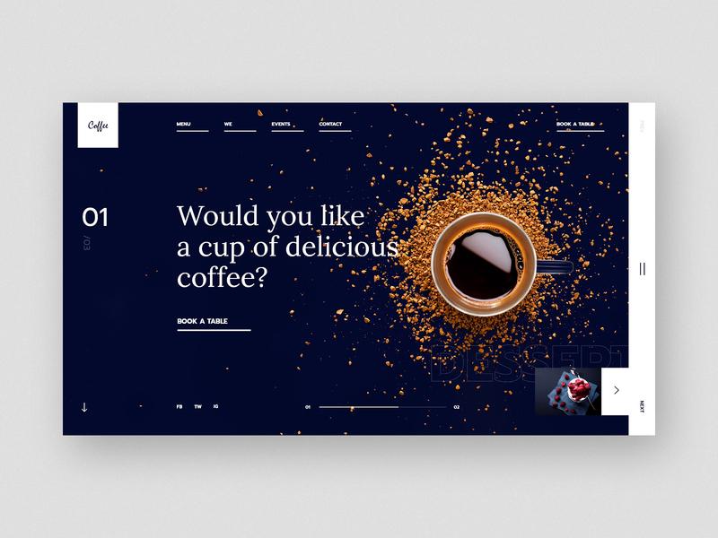 #32 Shots for Practice coffe cofe coffee food cafe restaurant home slider dark modern graphic clean minimalism flat design homepage website ux ui