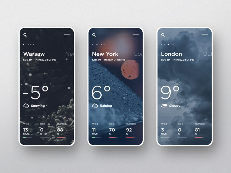 #3 WeatherNow -  Mobile App Concept concept adobexd android iphone phone weather app weather mobile slider app dark modern graphic clean minimalism flat design homepage ux ui