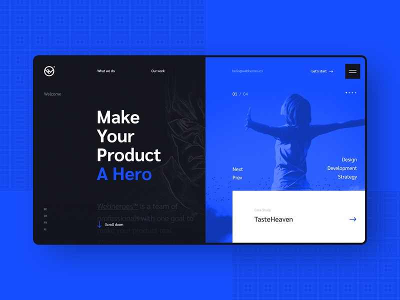 #5 Website design - Webheroes ui ux website homepage flat design minimalism clean graphic modern dark slider home hero heroes agency portfolio softwarehouse team branding