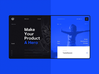 #6 Website design - Webheroes branding team softwarehouse portfolio agency heroes hero home slider dark modern graphic clean minimalism design flat homepage website ux ui