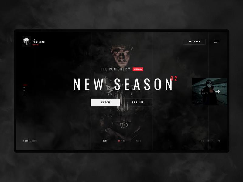 #37 Shots for Practice ui ux website homepage design flat minimalism clean graphic modern dark slider home netflix punisher movie film
