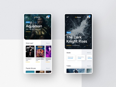 #7 ForMovies -  Mobile App Concept phone application film movies movie mobile home app slider dark modern graphic clean minimalism flat design ux ui