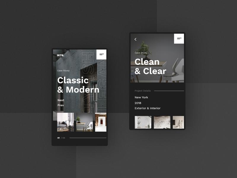 #8 IntertiorStudio - Mobile Website Concept studio interior design interior phone mobile app home slider dark modern graphic clean minimalism flat design homepage website ux ui