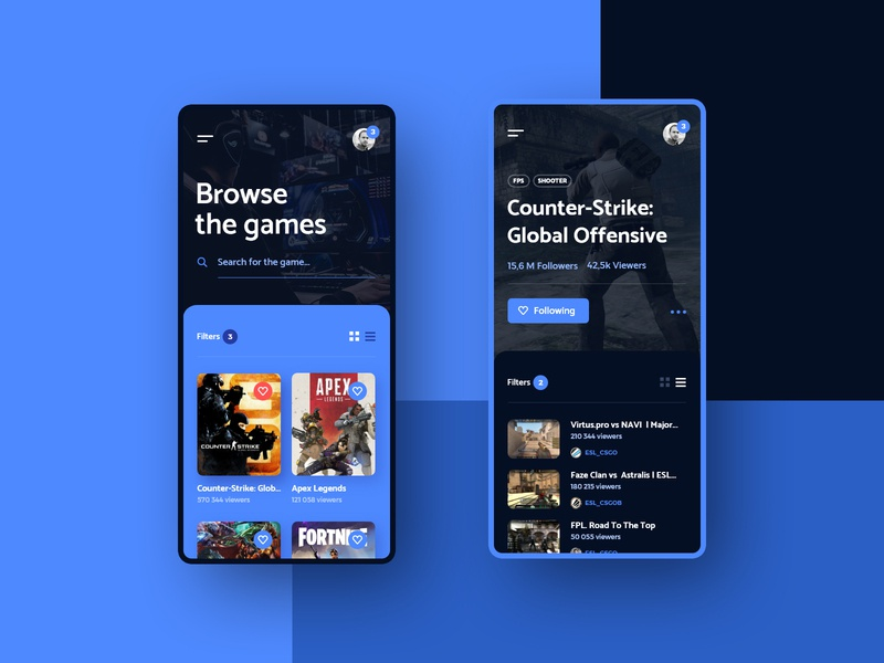 #10  ForStreamers -  Mobile App Concept interface player csgo esport platform games stream game android iphone applicaiton app phone minimalism flat design ux ui