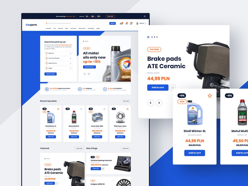 #2 Carparts - eCommerce design project platform online store shop ecommerce automotive cars parts part vehicle car graphic slider modern homepage flat website design ux ui