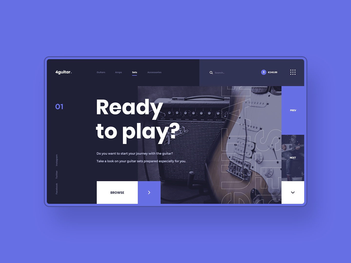 #3 Photo & Design photography photo ecommerce white store records amp guitar shop instrument music purple blue dark flat homepage design website ux ui