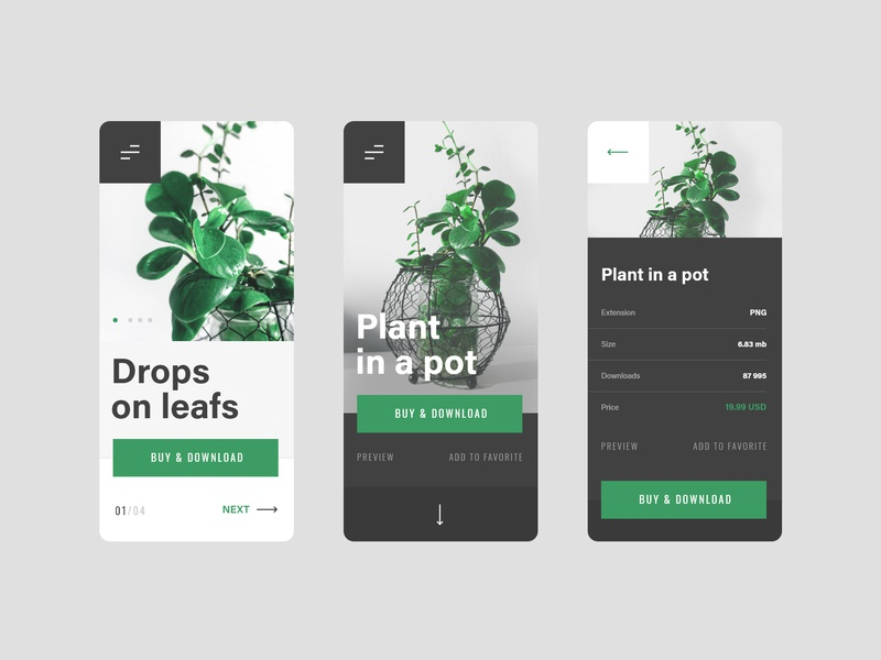 #6.2 Photo & Design android iphone mobile phone ui ux website design flat minimalism slider plant nature buy pot portfolio flower photo photograhy photographer
