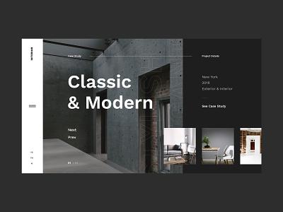 #38.3 Shots for Practice ui ux website homepage design flat minimalism clean graphic modern dark slider home interior exterior studio architechture design studio concept