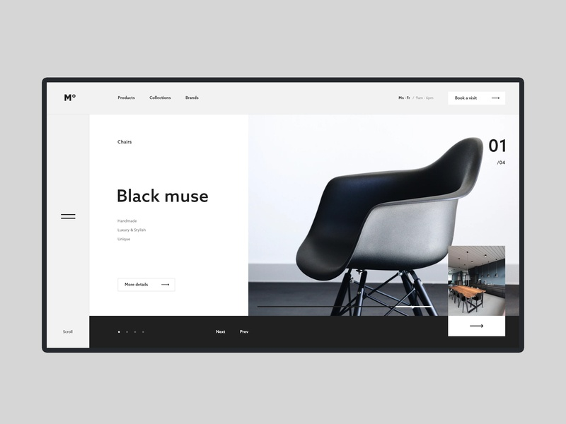 #45 Shots for Practice store clean minimalist concept web black white flat adobe xd ux ui slider homepage website chair luxury furniture minimalistic minimalism minimal