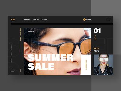 #47 Shots for Practice orange gold slider black ecommerce shope buy store font typography typo dark sunglasses flat minimalism homepage design website ux ui