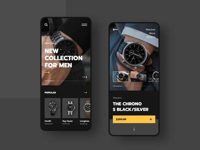 #48 Shots for Practice yellow minimal flat application app ecommerce smartphone android iphone phone mobile watches elegant luxury black shop store watch ux ui